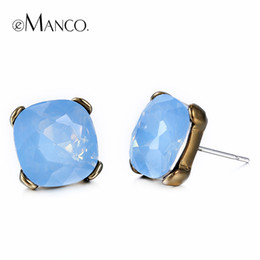 Hello Spring 18K Gold Plated Opal Square Stud Earrings for Women Girls