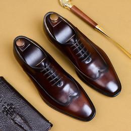 Ботинки для крыльев ручной работы онлайн-2019 классический натуральная кожа вечернее платье Wingtip акцентом обувь основной дизайнер квадратный носок ручной работы мужские свадебные оксфорды AS128