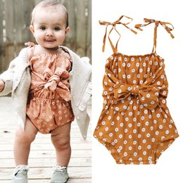 square baby Coupons - Hot selling Daisy Floral Jumpsuit Spaghetti strap Front Bowknot Ins Baby girl clothes Rompers Sweet 0-24Months