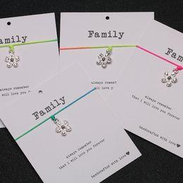 Mini tarjetas de deseos online-Make a Wish Mini Flower Charm Bracelet Ajustable Lucky Red String Pulseras Mujeres Niños Deseo Joyas Regalo de la tarjeta