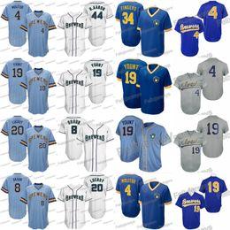 Бейсбольный свитер milwaukee онлайн-4 Пол Молитор Милуоки 19 Робин Йонт Райан Браун Джонатан Лукрой Хэнк Пивовары Ролли Пальцы Бейсбольные майки
