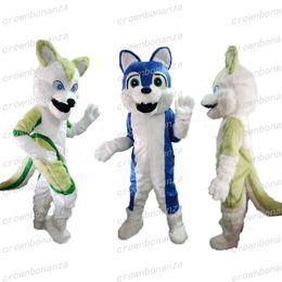 Mavi Fursuit Husky Köpek Maskot Kostüm Anime Tema Karnaval Cadılar Bayramı Karikatür Yeşil Peluş Kurt Hayvan Kostüm Karakter Noel Partisi Suitg cheap fursuit costumes nereden kıyafet kostümleri tedarikçiler