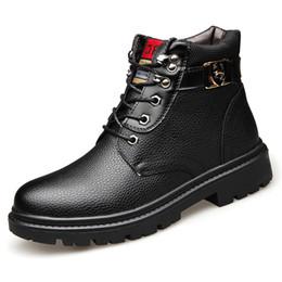 2019 Hiver Homme Neige Bottes Haute Qualité En Cuir Véritable Chaussures Laine Intérieur Anti-slip Bottes Imperméables 38-44 Homme Neige ? partir de fabricateur