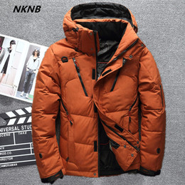 capucha chaqueta de pana Rebajas 2019 de alta calidad 90% White Duck Down Jacket los hombres cubren nieve parkas masculino caliente marca de ropa de invierno chaqueta abajo prendas de abrigo
