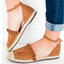 2019 каблуки Laamei 2019 Fashion Women Flats Summer Retro Casual Shoes Flat Heel Straw Linen Buckle Ruffle Zapatos Mujer Female Footwear скидка каблуки