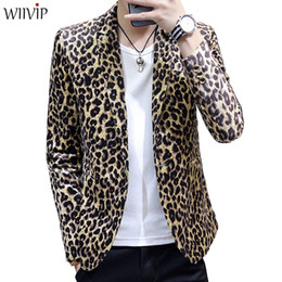 leopard print collars Promo Codes - New Man Fashion Print Leopard Notched Collar Full Sleeve Smooth Soft Fabric Blazer Coat Male Spring Autumn Slim Outerwear 1122