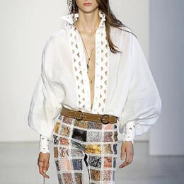 camicie trasparenti donne Sconti Camicia da donna di marca runway donne 2019 primavera estate moda stand collare manica lunga lanterna scava fuori trasparente partito cocktail camicie