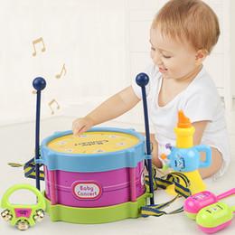 Pandeiros de brinquedos on-line-Brinquedos do bebê de dupla face pandeiro brinquedos educativos bebê chocalho crianças 5 conjuntos de presentes das crianças requintadas