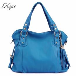 Argentina Kajie 2017 borlas de cuero genuino de la vendimia bolso de las mujeres bolso de hombro bolsos del diseñador de alta calidad de lujo azul totalizador # 34332 cheap soft leather handbags blue Suministro
