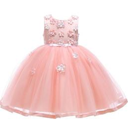 Vestido crianças europe on-line-Europa Bebés Meninas Vestido Children Applique Gauze saia bebê Tulle Kids Party Girl Dress Bola Lace vestido Tutu Princesa Vestidos W330