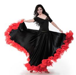 swing tanz kostüme Rabatt Adult Lady Bauchtanz Kostüme Spanisch Tanzrock Eröffnung große Schaukel Rock Leistung Gypsy Wear Frauen