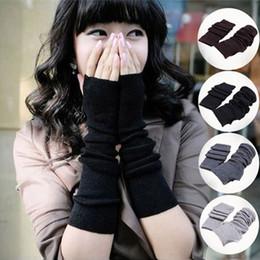 medio dedo guantes manga larga Rebajas Nuevas mujeres de invierno cálido tejer guantes largos medio dedo dedo muñeca sin guantes de dedo mangas calientes Yya564