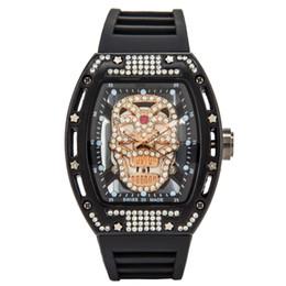 2019 силиконовые часы Роскошные Мужские Часы Спортивные Часы Мода Diamond Голова Призрака Силиконовый Ремешок Кварцевый Череп Марка мужские часы Бесплатная Доставка Подарок 8 дешево силиконовые часы