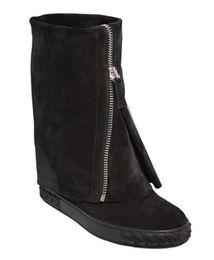 Cunei casual di scarpe da barca online-Nero / Bianco Scarpe da donna Sneakers Stivali al polpaccio Punta tonda Chiusura lampo anteriore Altezza crescente Wedges Casual Scarpe da donna