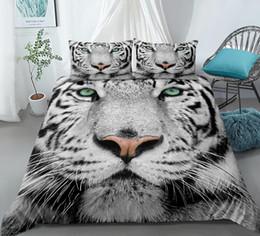 tiger-druckbettwäsche-sets Rabatt 3D White Tiger Bettwäsche Tiere Druckmuster Bettwäscheset naturgetreue Bettwäsche mit Kissenbezug Heimtextilien Direktversand