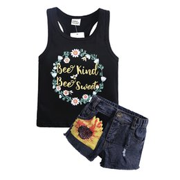 1354513a1 2019 Nuevo producto Traje de verano para mujer Sunprint Chaleco y jeans  Pantalones cortos Traje de dos piezas de proveedores chinos