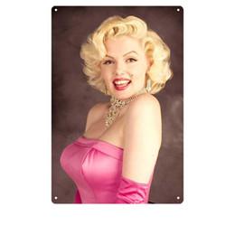 Peintures de décoration d'hôtel en Ligne-30 * 20CM Marilyn Monroe signes Tin 62 modèles Hôtel Vintage Room Tin Peintures Salle de bain sexy décorations murales 60 Pieces DHL