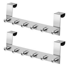 Ganchos para perchas online-2 unids multifuncional ganchos de pared de acero inoxidable montado en la pared percha gancho gancho sobre el riel de la puerta gancho de rack para baño cocina