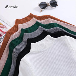 Футболка с рукавом онлайн-Marwin 2018 New-coming Autumn Turtleneck Pullovers Sweaters Primer shirt long sleeve Short Korean Slim-fit tight sweater