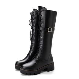 grandi neri di stivali Sconti piccole dimensioni Big 33 34 a 40 41 42 43 donne casuale fibbia stivali alti al ginocchio Martin Brown beige nero prossimo con la scatola