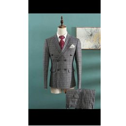 2019 штаны для поддержки Men's fashion dress double-breasted suit two-piece suit (jacket + pants) men's business office dress support custom дешево штаны для поддержки