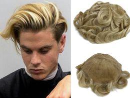 Bionde di cenere online-Sostituzione bionda brasiliana dei capelli umani dei pezzi dei capelli della parrucca degli uomini pieni del merletto di colore libero della cenere per gli uomini