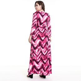 Женские модели длинное платье онлайн-2019 Весна взрывы модели большой размер женские платья с длинными рукавами мода печати V-образным вырезом платье женский
