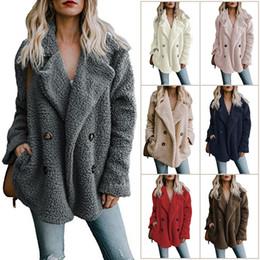 più il cappotto di plaid rosso di formato Sconti Europa e Stati Uniti in autunno e inverno 2018, maglione a doppio petto Amazon risvolto giacca di lana sciolto donne all'ingrosso online