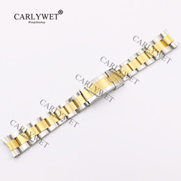 Argentina CARLYWET 20mm Nuevo Dos Tonos Medio Oro Sólido Extremo de la Curva Tornillo Enlaces Correa de Reloj de Acero Inoxidable 316L Correa de Pulsera de Estilo Antiguo supplier curved end watch bracelet Suministro