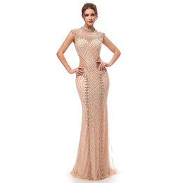 884cffc0ad7 100% Real Image 2019 Champagne Short Sleeves Mermaid Prom Dresses With  Sequins High-neck Tulle Hollow Evening Party Gowns 5401