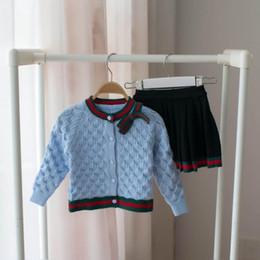 Equipo de la camisa del suéter online-Suéter de los niños Trajes Camisa + Falda Ropa de Punto Ropa de Bebé Conjunto de Ropa para Niñas Otoño Primavera Niños Algodón 2 pcs Ropa