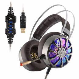 Giochi virtuali online-G106S USB Virtual 7.1 Gaming Headset Cuffia da gioco cablata Cuffie cablate Subwoofer Vibrazione RGB Cuffie con microfono con auricolari