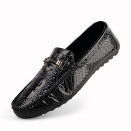 ea60b06fd4d3 Men Shoes Loafers Leather Moccasin Crocodile Style Footwear Slip On Flat  Driving Boat Shoes Classical Male Chaussure Homme 39-44