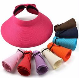 Le signore rotolano i cappelli del sole online-Moda Cappelli estivi da sole per donna Lady pieghevole arrotolabile Sun Beach Cappello a visiera in paglia a tesa larga con multi-colore