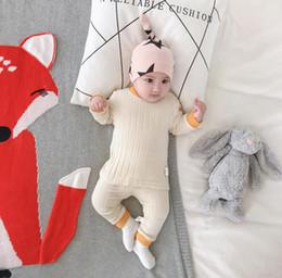 babys de moda Desconto 2019 Novo Estilo Do Bebê Das Meninas Dos Meninos 2 Pcs Set T-Shirt + Leggings Outono Inverno Moda Algodão Babys Pijama Ternos 0-3 t PX919