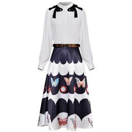 Wholesale Red RoosaRosee Summer Runway Designer Two Piece Set Women White Elegant Shirt Tops Print Midi Skirt Blouse Suit