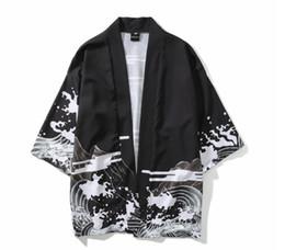 7dc859ab99 2019 new Japanese Dragon Printed Kimono Shirts Men Harajuku Cardigan Shirts  Hip Hop Male Casual Streetwear Japanese Clothe Women
