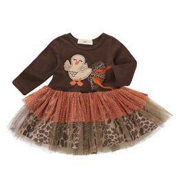 Bordado vestido gaze on-line-Novo design de ação de graças crianças vestido de peru bordado gaze de manga comprida plissada dress outono boutique baby dress