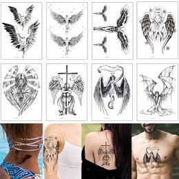 donne sexy tatuaggi per gli uomini Sconti Black Sketch Wing Tattoo Sexy Angel Cross Deathwing Falso Temporaneo Body Art Tattoo Sticker trasferimento per Cool Woman Man Fashion 2019 Nuovo regalo