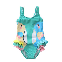 ed34085344350 Kids swimsuits girls cartoon fish bird printed tiered falbala siamese swimming  children lace-up Bows backless SPA beachwear F6664. Supplier: summervivi