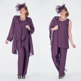 Bräutigam passt purpurrot online-Mode Lila Mutter Der Braut Hose Anzüge Mit Jacken Jewel Neck Günstige Hochzeitsgast Kleid Plus Size Chiffon Mütter Bräutigam