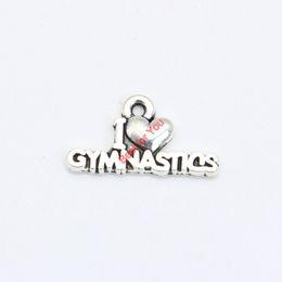 2019 гимнастические брелоки I Love Gymnastics Charms Antique Silver Plated Pendant Bracelets Necklace Jewelry Making Accessories DIY 11x20mm дешево гимнастические брелоки