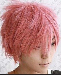 Peruca LL 002781 cauda de fadas Natsu Dragneel curto rosa cosplay peruca festa supplier natsu cosplay de Fornecedores de natsu cosplay