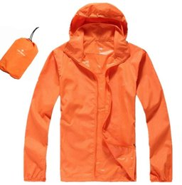Hombres de cara seca online-2019 Summer Thin Hooded Windbreaker Fast Dry Sun Protección UV Chaqueta del Norte de una sola capa Hombres Hooded Face Face Jacket orange