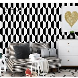 Schwarze weiße moderne tapete online-Moderne 3D Weiß, Schwarz Design Tapete Für Schlafzimmer Wandverkleidung Geometrische Tapeten Wohnkultur Luxus Wohnzimmer Tapete