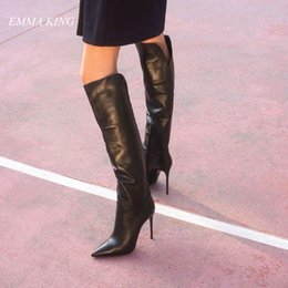 sapatos elegante sapatos senhora Desconto Elegante Estilete De Couro Preto Na Altura Do Joelho Botas Longas Mulheres Apontou Toe Lado Zíper Sapatos de Salto Alto Senhoras Sapatos Sexy 2019 Botas Mujer