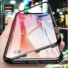 Funda de metal galaxy note edge online-Estuche de adsorción magnética para Samsung Galaxy S8 S9 Plus Note 8 S7 S7 Edge Funda de vidrio templado Funda de parachoques de metal de lujo