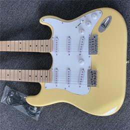 2019 faire le cou de la guitare Livraison gratuite, Double cou guitare crème jaune 6 cordes 12 cordes guitare électrique personnalisé fait toutes les guitares promotion faire le cou de la guitare