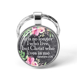 Bible Verse New Style Key Chains Round Glass Dome Pendant Inspirational Quote Keychain Key Rings Keyring Christian Gift