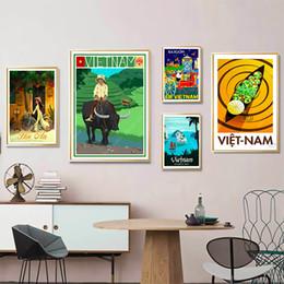 marcos de la pared pinturas al óleo paisaje Rebajas Vietnam Water Market Hoi an Yellow City Travel Pinturas sobre lienzo Vintage Wall Kraft Carteles Recubiertos Pegatinas de pared Decoración para el hogar Regalo